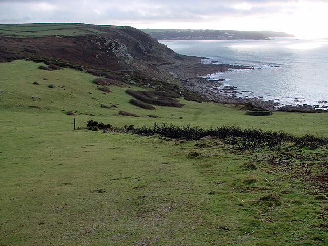 Looking back towards Sennen Cove on the climb to Carn Polpry