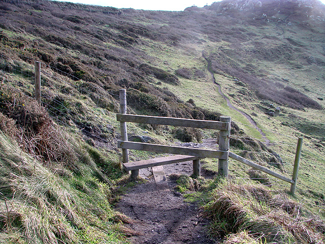 A stile on the South West Coastal Path by Carn Polpry