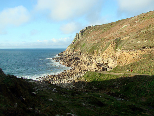 Approaching Porth Nanven on the South West Coastal Path