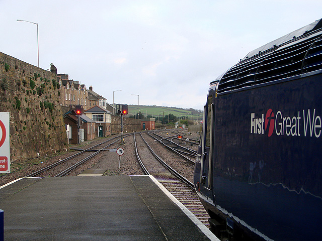 At the end of the platform at Penzance Railway Station