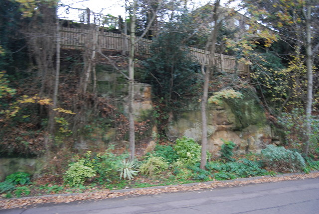 Sandstone cliff and garden, All Saints' Rd