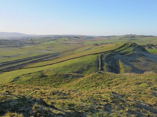 Hadrian's Wall, the Military Way and the Vallum around Caw Gap