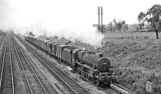 Up fast freight at Stoneyford Junction, near Langley Mill