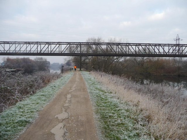 Cycling under the pipe bridge