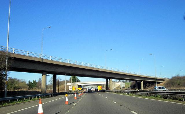 M5 Motorway Passing Beneath M42 Slip Road at Start of 40mph Roadworks