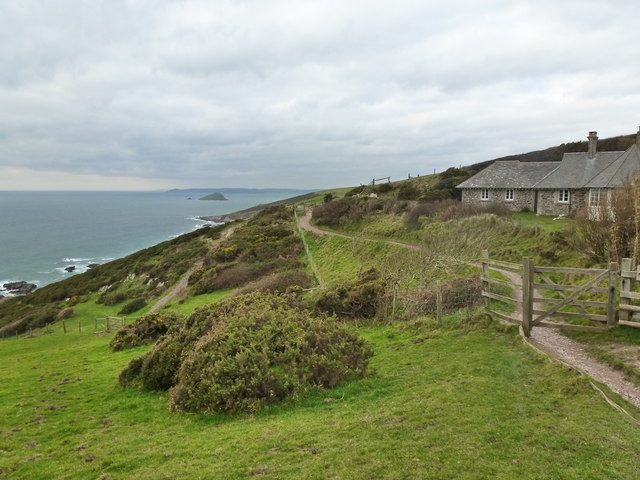 Warren Cottage and the South West Coast Path, near Noss Mayo