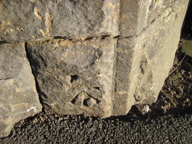 Ordnance Survey Cut Mark on bridge buttress on Amberley Road, Wortley