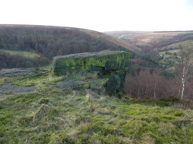 The Bull Fall Stone and its view, Cragg Vale