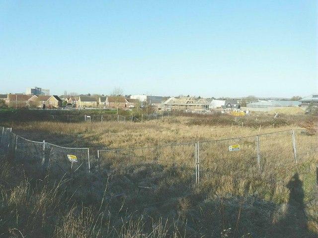 Looking across former allotments, Ashford