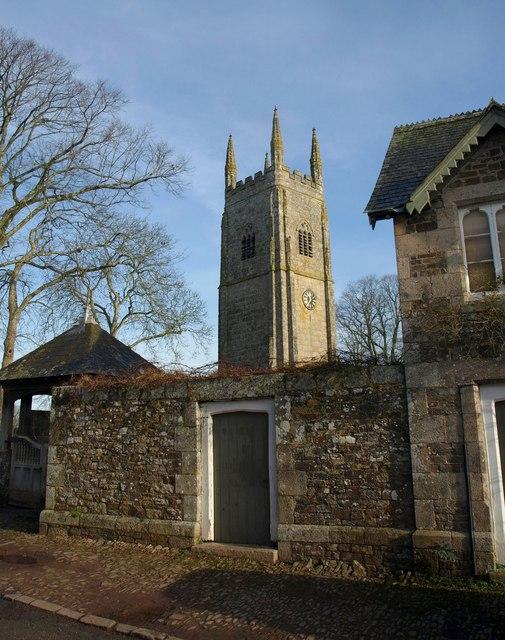 Church tower and wall, Sampford Courtenay