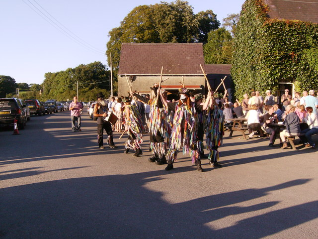 Dancing in front of Cresselly Arms