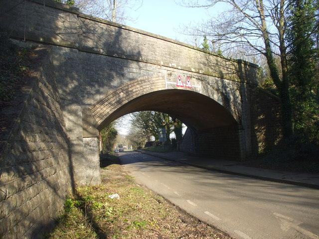 Bridge carrying dismantled railway over the road to Swanbridge