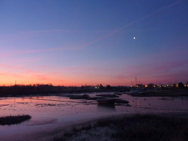 Sunrise - and moon - over Oare Creek
