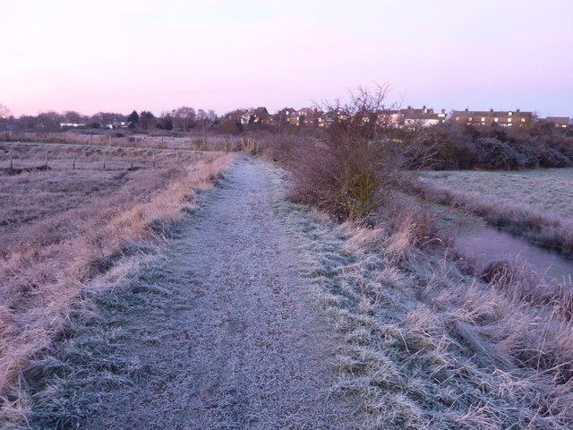 Frosty footpath at sunrise, Oare Creek