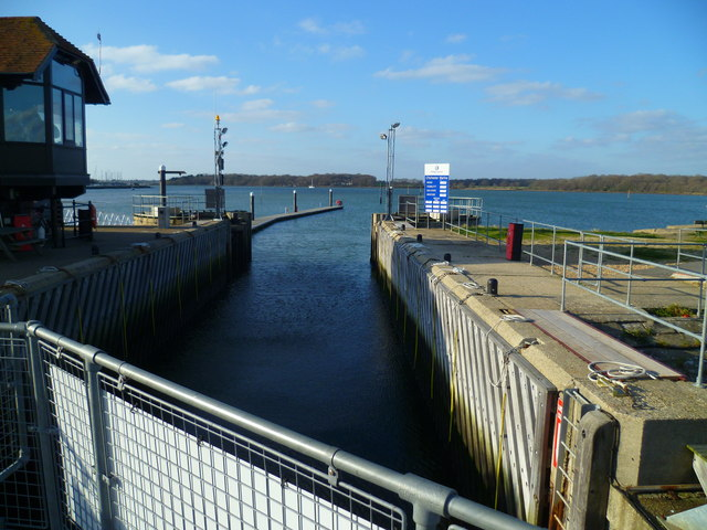 Looking out over Chichester Marina Lock
