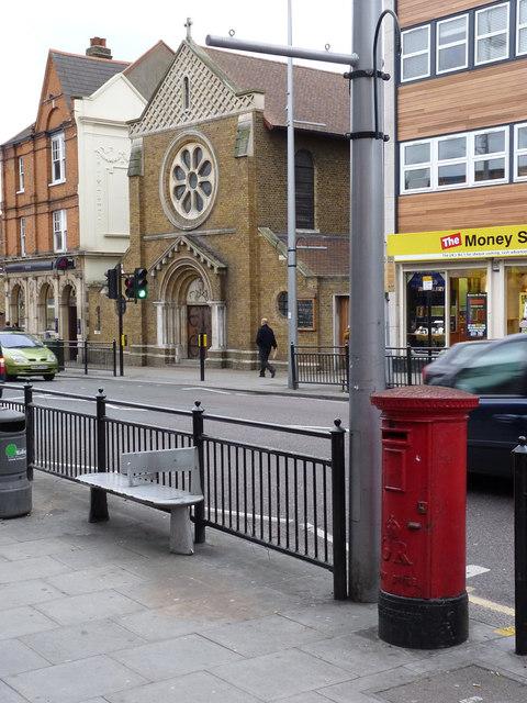 Postbox: High Street   Facing Oldham Terrace (ref. W3 65)