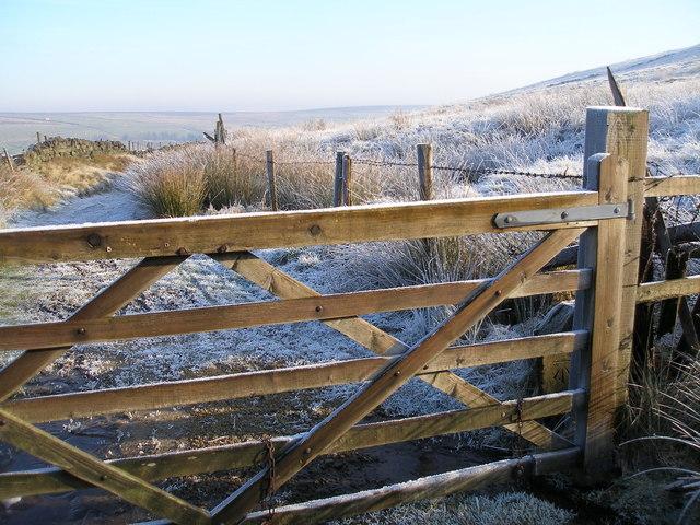 Cut benchmark on an old gatepost near Higher Heath