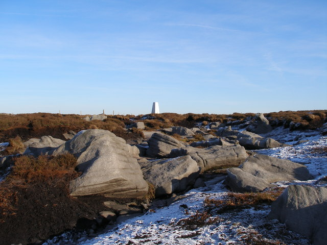 Stones and trig point on Hoof Stones Height