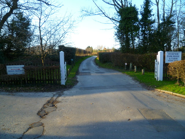 The road to Itchenor Park House and Farm