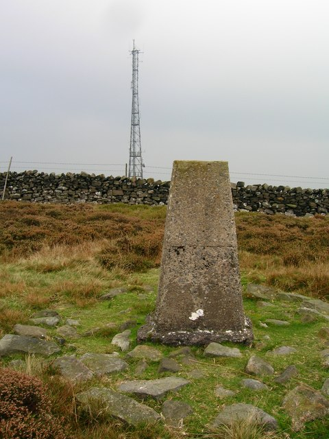 Trig point and transmitter on Waddington Fell