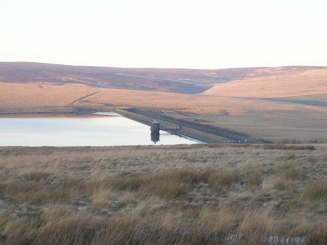 The dam at Gorple Lower Reservoir