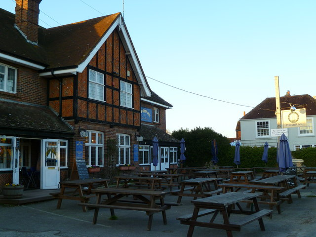 Tables at the front of the Ship Inn at West Itchenor