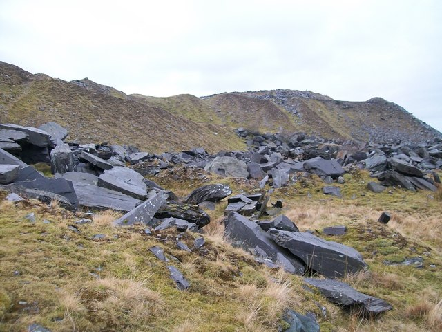 Waste tips at Marchlyn Quarry