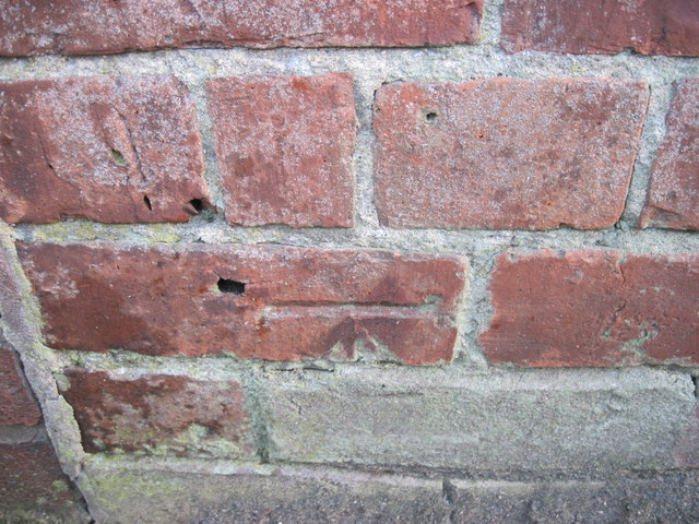 Ordnance Survey Cut Mark on wall of 15 Alexandria Crescent, Durham