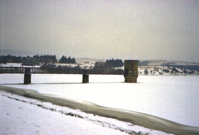 Valve Tower on a frozen Stocks Reservoir