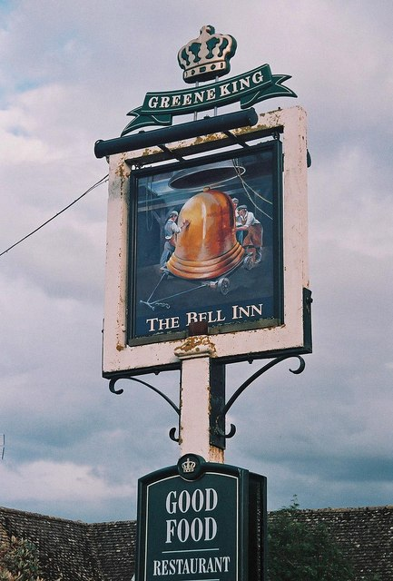 The Bell Inn (4) - sign, 21 Standlake Road, Ducklington