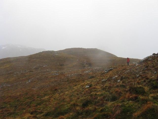 Heavy rain on Meall nam Maigheach