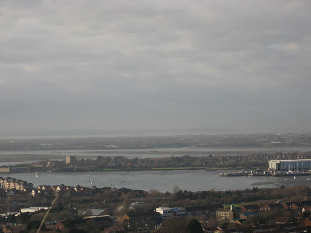 A view of the Portsmouth waterfront on a hazy winter's day