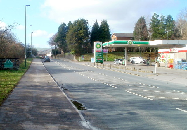 BP garage and Spar shop at the eastern boundary of Trethomas