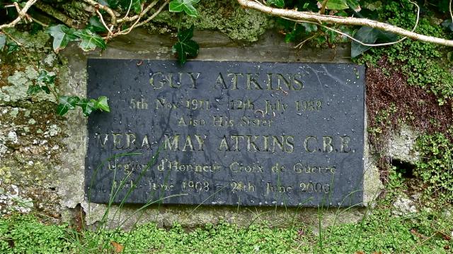 Memorial to Vera Atkins in  Saint Senara's Church Churchyard Zennor