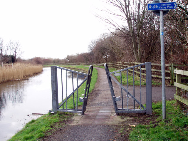 Towpath barrier on the Leeds Liverpool Canal