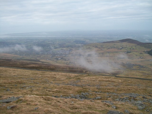 View down the western slope of Elidir Fach