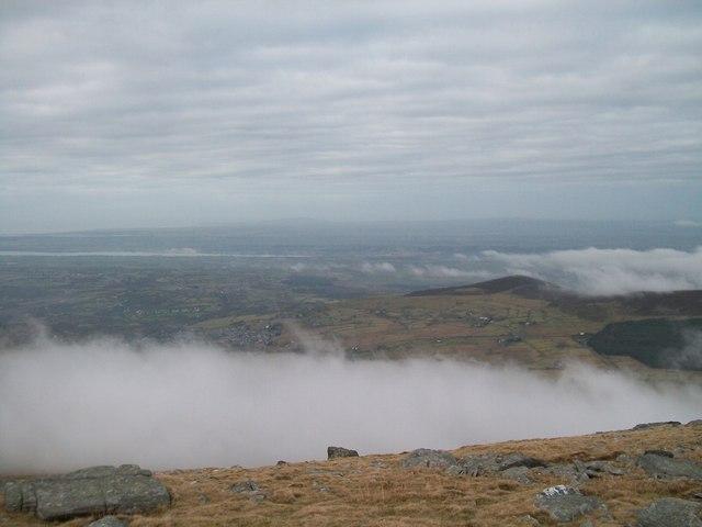 Low level cloud below the summit plateau of Elidir Fach