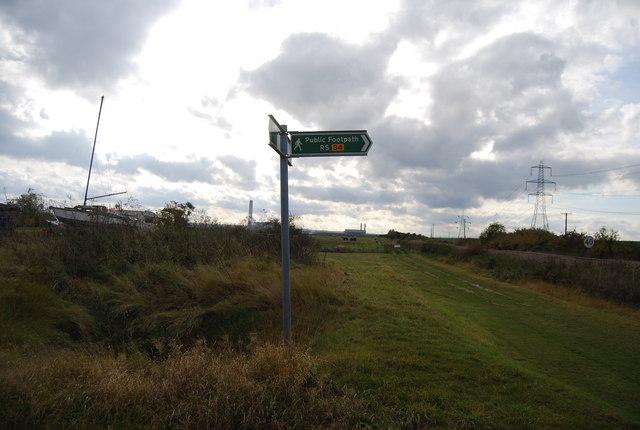 Footpath sign, Stoke Crossing