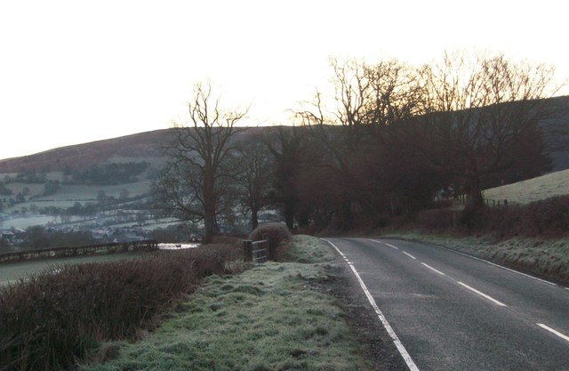 The B4391 Langynog to Penybont road