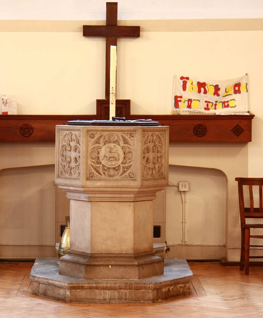 St John the Divine, High Path, Merton - Font