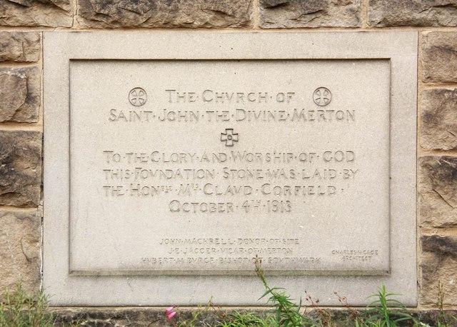 St John the Divine, High Path, Merton - Foundation stone