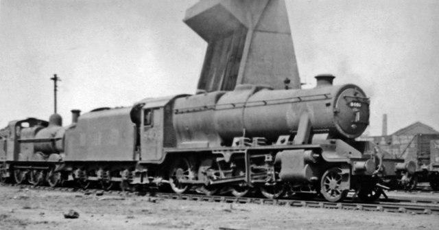 Swindon-built Stanier 8F 2-8-0 at Saltley Locomotive Depot