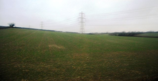 Farmland and pylons, Winterbourne Valley