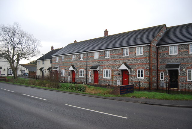 Row of Flint built houses, Winterbourne Abbas
