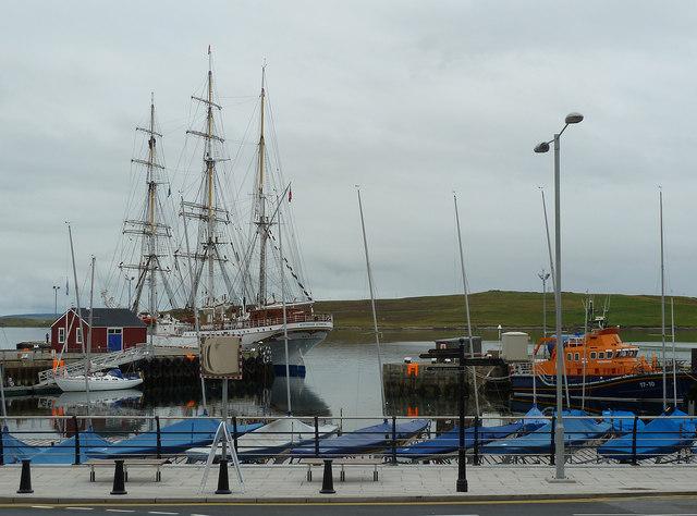 Bressay Slip and Victoria Pier with boats, Lerwick