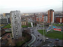 SJ8297 : Roundabout From the Roof of Hulme Court by Anthony Parkes