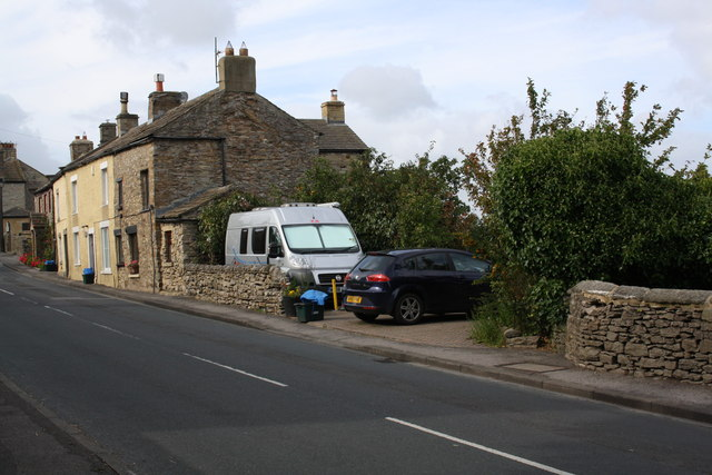 Houses on A684 at east end of West Witton