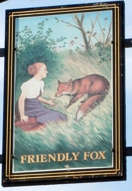 The Friendly Fox pub sign, Rhiwderin