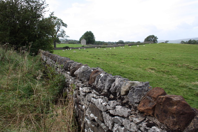 Wall beside A684 at Holl Gate