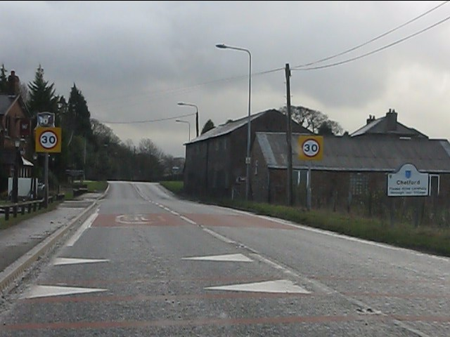 The A537 enters Chelford